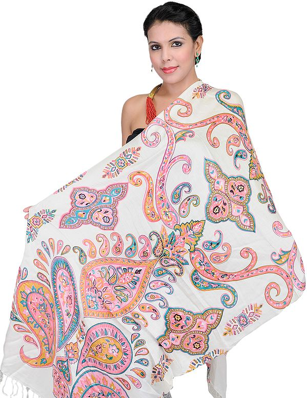 Ivory Stole with Large Printed Paisleys