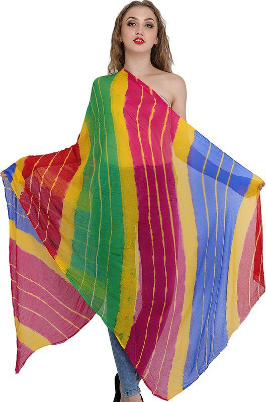 Multi-Color Dupatta from Jodhpur with Leheria Print