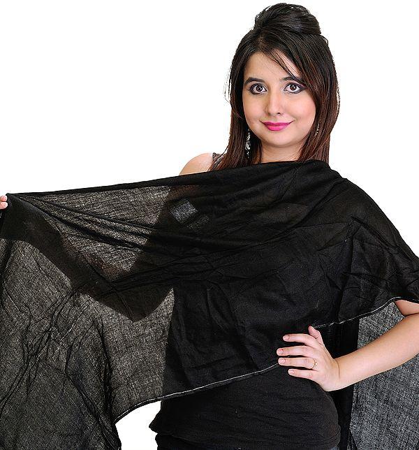 Plain Jet-Black Pashmina Stole from Nepal