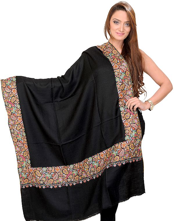 Jet-Black Plain Pashmina Shawl from Kashmir with Intricate Sozni Embroidered Flowers on Border