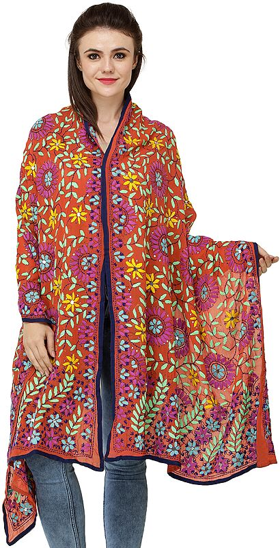 Phulkari Dupatta from Punjab with Ari Hand-Embroidered Flowers and Sequins