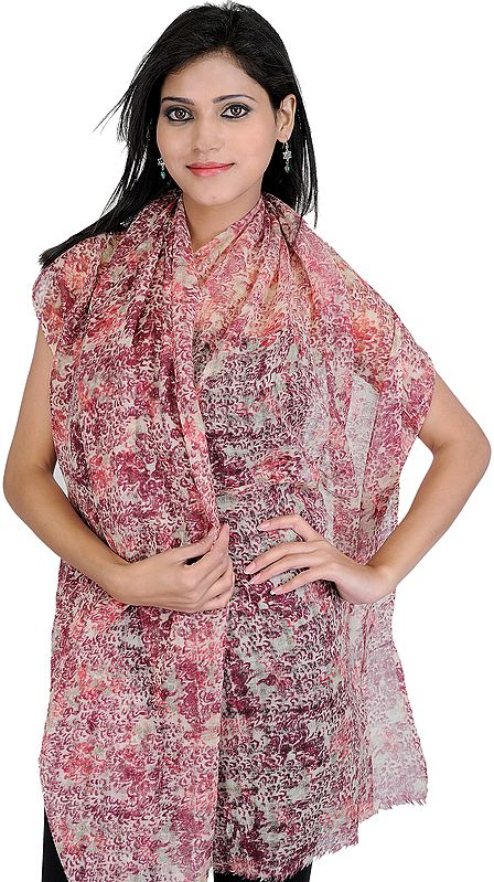 Ruby and Beige Digital-Printed Stole with Missing Checks in Weave