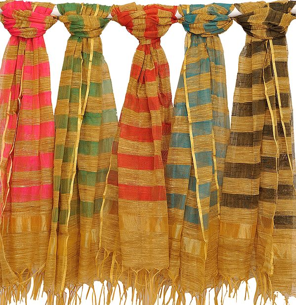 Lot of Five Striped Dupattas from Banaras