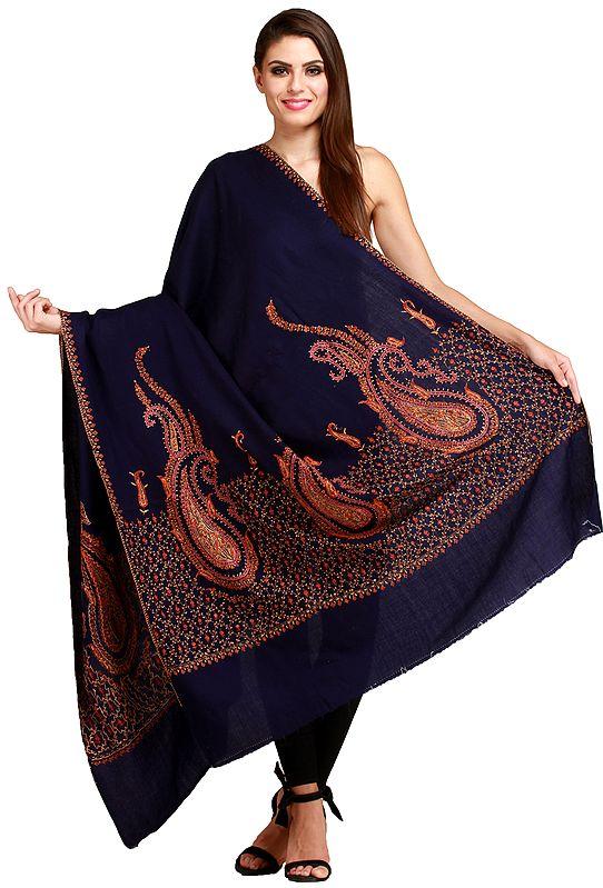 Tusha Shawl from Kashmir with Sozni Hand-Embroidered Paisleys