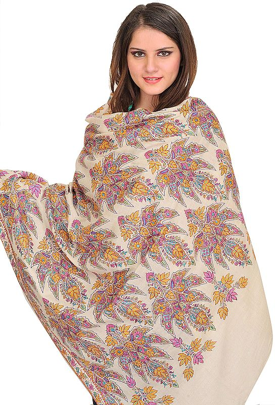 Cream Kashmiri Pure Pashmina Shawl with Papier Mache Hand-Embroidered Maple Leaves