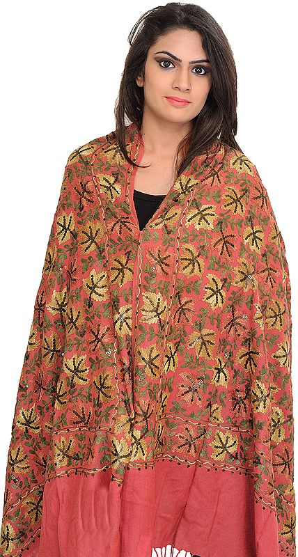 Stole from Amritsar with Ari Embroidered Chinar Leaves and Sequins