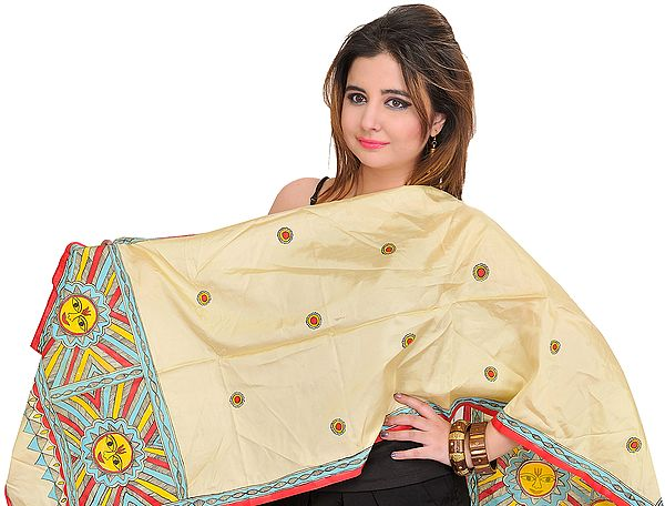 Pastel-Yelllow Scarf with Madhubani Hand-Painted Lord Surya on Border