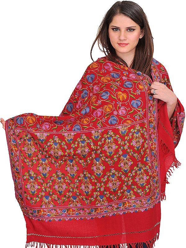 Stole from Kashmir with Ari Hand-Embroidered Chinar Leaves