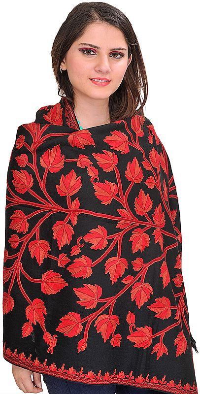 Phantom-Black Stole from Kashmir with Ari-Hand Embroidered Chinar Tree