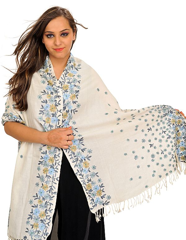 Floral Ari-Embroidered Stole from Amritsar