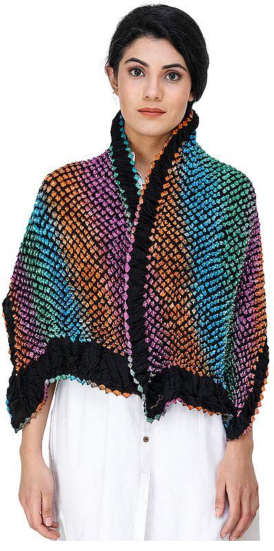 Multicolor Bandhani Tie-Dye Scarf from Gujarat
