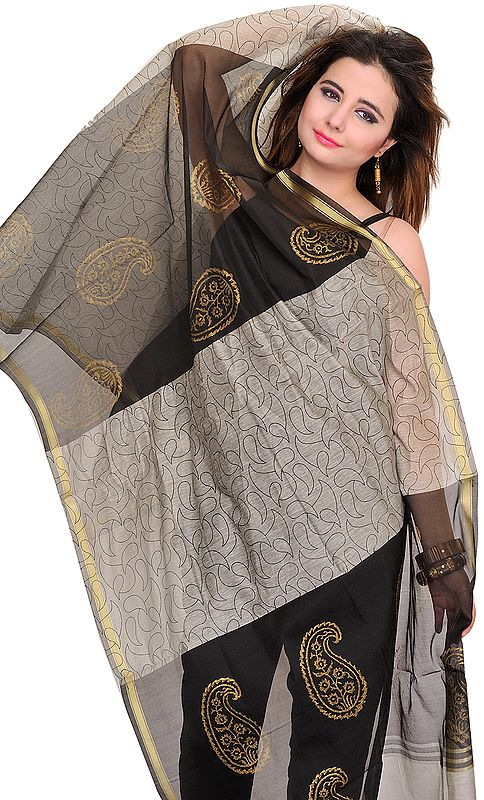 Double-Colored Chanderi Dupatta with Printed Paisleys