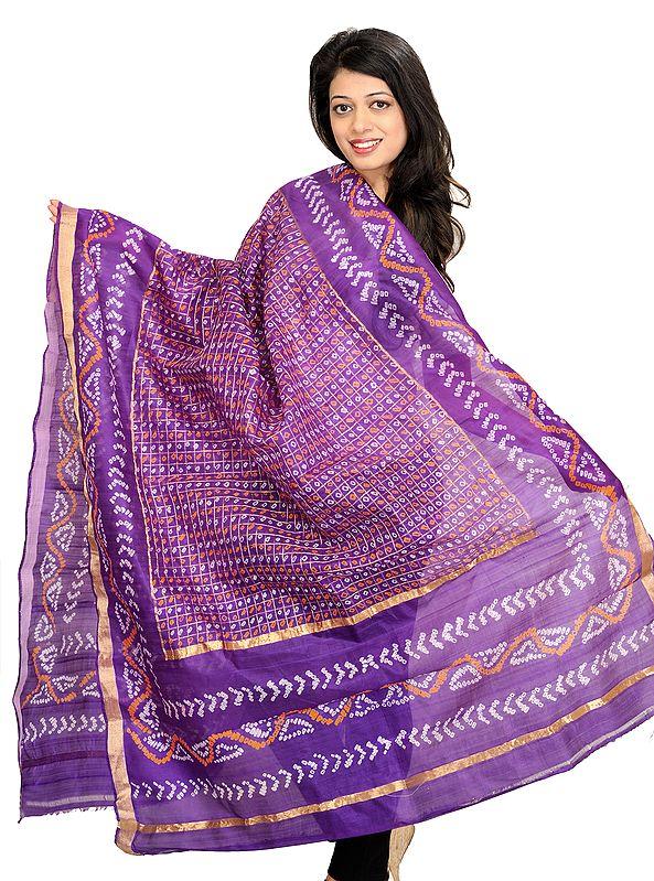 Gentian-Violet Bandhani Tie-Dye Gharchola Dupatta from Jodhpur with Zari Weave