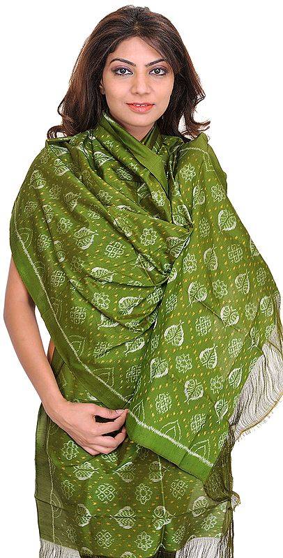 Cedar-Green Sambhalpuri Stole from Orissa with Ikat Weave