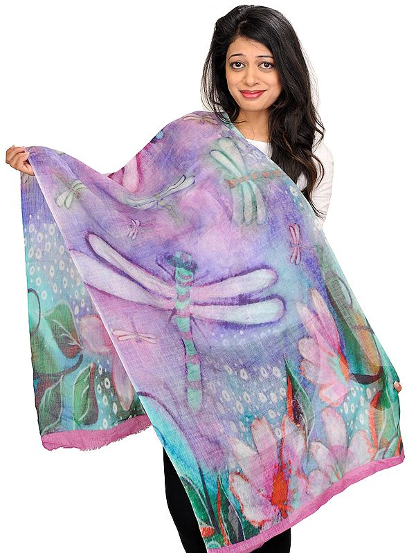 Multicolor Stole with Digital-Printed Dragonfly