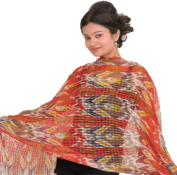 Multicolor Digital Printed Stole with Missing Checks in Weave