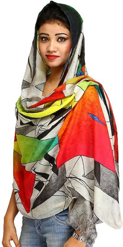 Multicolor Stole with Cubist Digital Print