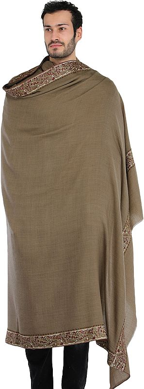 Plain Men's Shawl from Amritsar with Paisleys Embroidered Patch Border