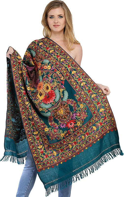 Deep-Lake Kashmiri Stole with Ari Floral Embroidery by Hand