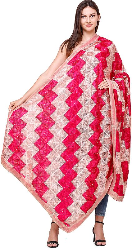 Phulkari Embroidered Dupatta from Punjab with Sequins and Gota Border