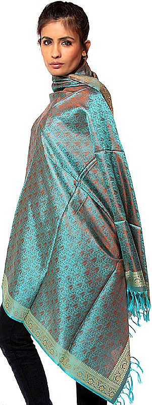 Turquoise Banarasi Hand-Woven Shawl with All-Over Tanchoi Weave