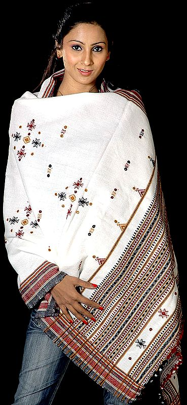 White Shawl from Kutchh with Mirrors and Thread Weave