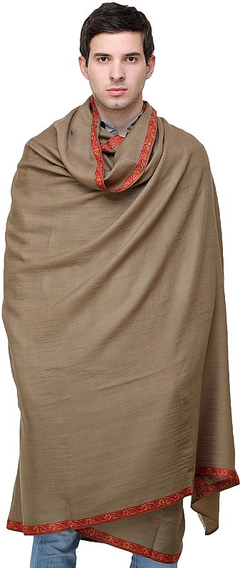 Pure Wool Men's Shawl from Kashmir with Sozni-Embroidered Border and Motifs