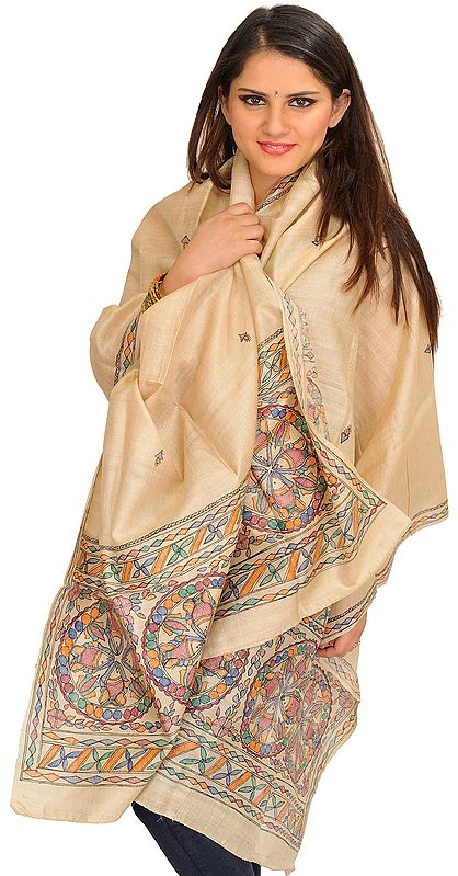 Frosted-Almond Madhubani  Dupatta from Jharkhand with Painted Fishes on Border