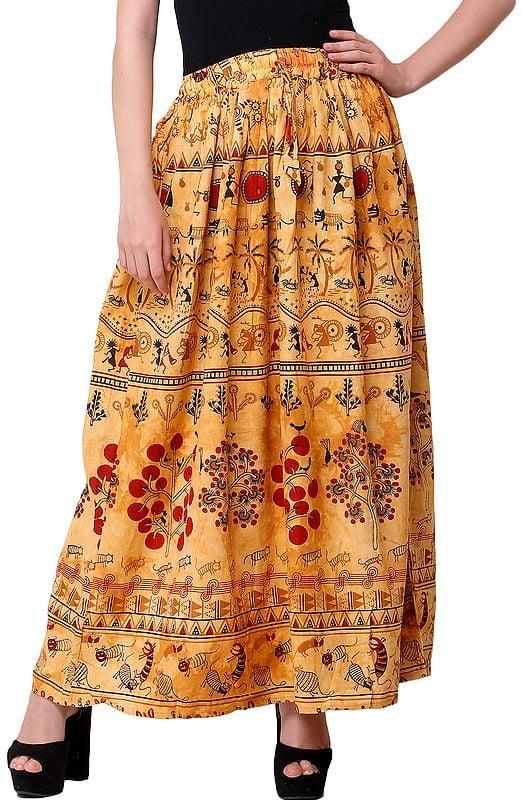 Warli Folk Printed Long Skirt
