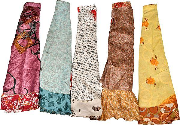 Lot of Five Wrap-Around Vintage Sari Two-Layered Long Skirts