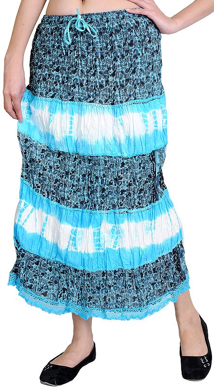 Cyan-Blue Midi-Skirt with Printed Paisleys and Lace
