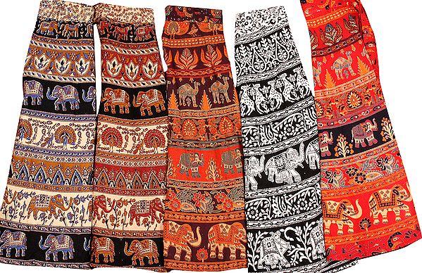 Lot of Five Wrap-Around Sanganeri Printed Skirts