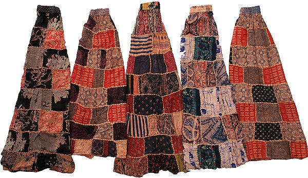 Lot of Five Printed Patchwork Dori Skirts