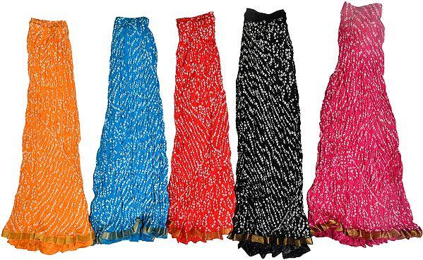 Lot of Five Bandhani Printed Skirts from Jodhpur with Gota Border