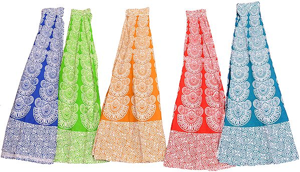 Lot of Five Wrap-Around Long Skirts with  Block-Print in Pastel Colors