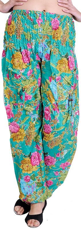 Marine-Green Casual Trousers With Printed Flowers