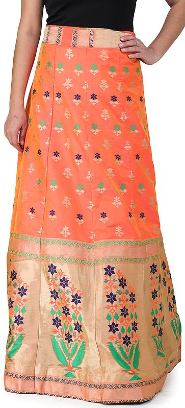Wrap-On Long Brocade Skirt from Gujarat with Geometric Flower Motifs All-Over and Golden Border