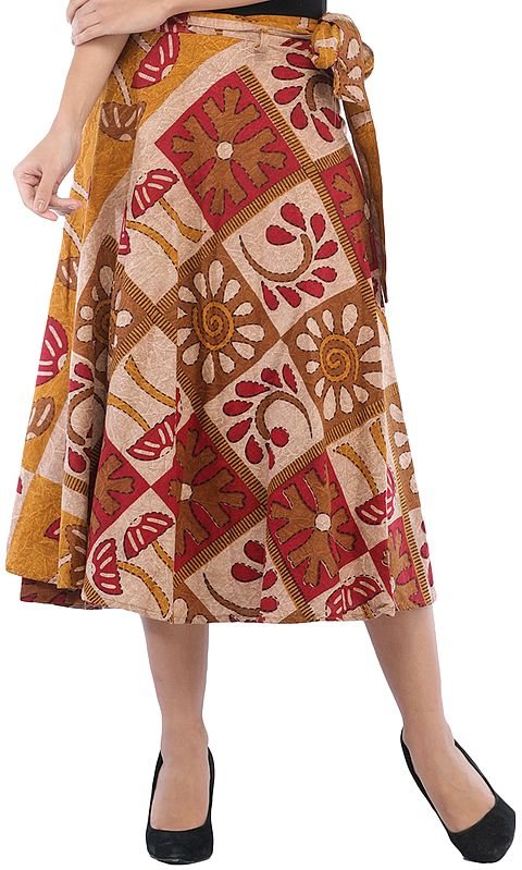 Wrap-Around Casual Stone-washed Midi Skirt with Printed Palm Trees
