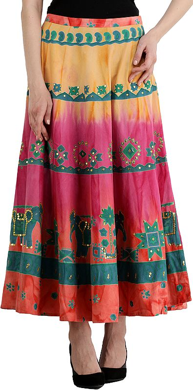 Emerglow Long Skirt with Printed Elephants and Embroidered Sequins