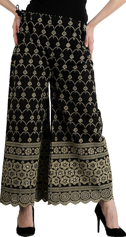 Caviar-Black Flared Phulkari Palazzos From Punjab with Embroidered Flowers and Sequins