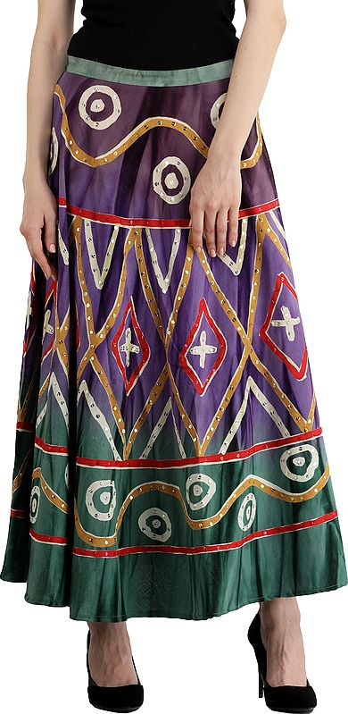 Greenlake Long Skirt with Printed Motifs and Embroidered Sequins