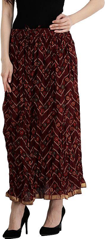 Oxblood-Red Elastic Long Skirt with Bandhani Print and Gota  Border