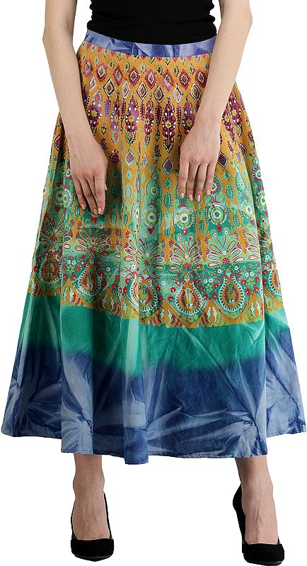Peacock-Green Skirt with Printed Motifs and Embroidered Sequins