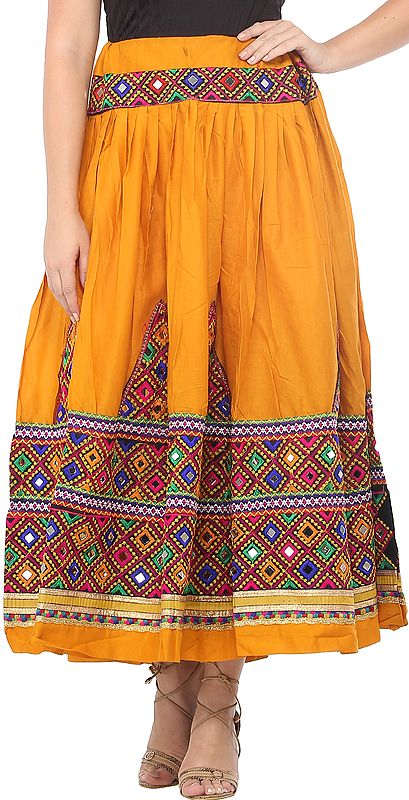 Ghagra Skirt from Kutch with Multicolor Thread Embroidered Patch Border and Mirrors