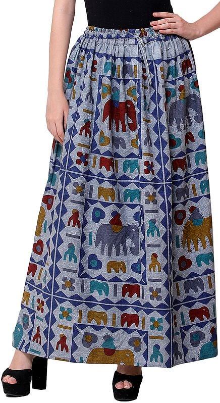 Stone-Washed Long Elastic Skirt with Printed Elephants