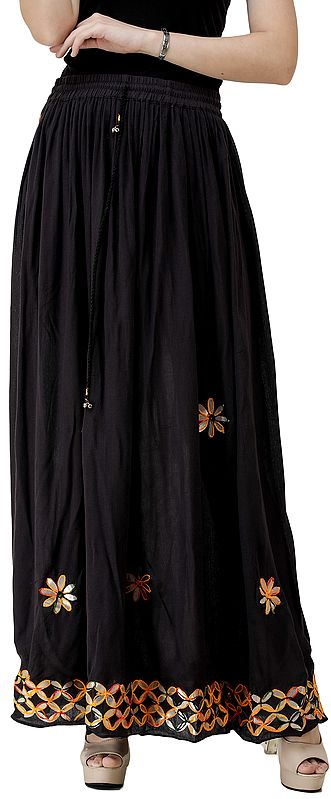 Long Skirt with Hand Embroidery in Multicolor Thread