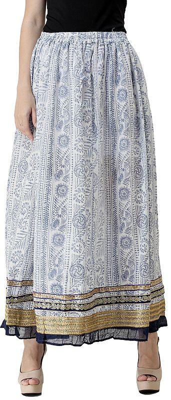 Skirt with Folk Print and Triple Gota Border