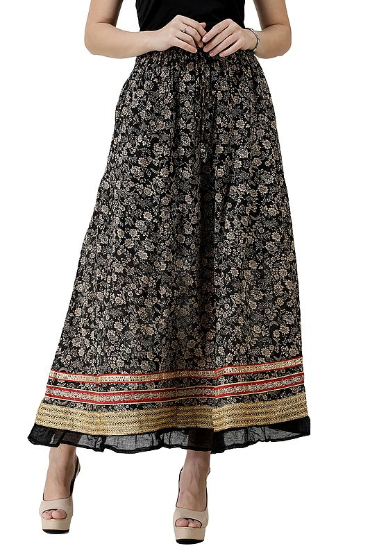 Skirt with Folk Print and Triple Gota Border
