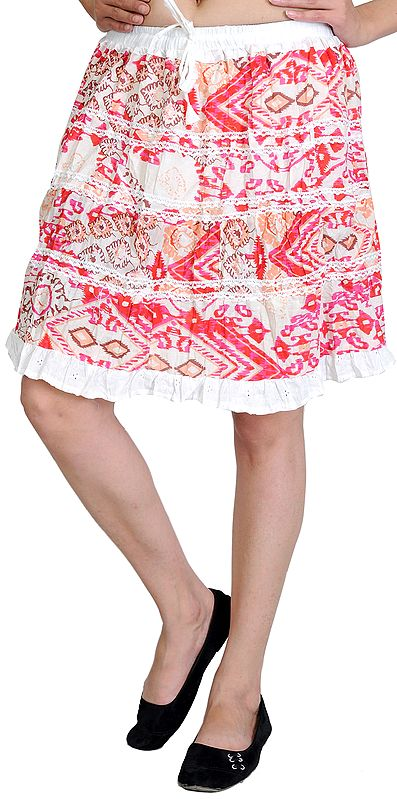 Sheer-Pink Short-Skirt with Lace and Ikat Print