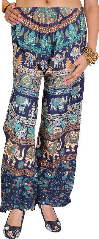 Casual Trousers from Pilkhuwa with Printed Elephants